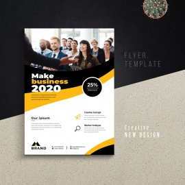 Creative Business Flyer With Yellow Black Accent