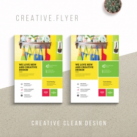 Creative Business Flyer With Yellow Green Accent