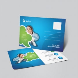 Creative Business PostCard With Blue Green Accent