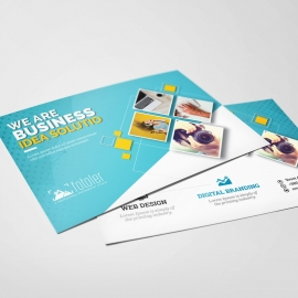 Creative Business PostCard With Cyan Accent
