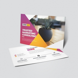 Creative Business PostCard With Red Yellow Accent