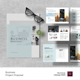 Creative Business Proposal Layout with Sky Blue  Accent
