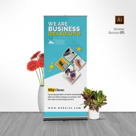 Creative Business Rollup Banner With Cyan Accent