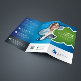 Creative Business Tri Fold With Blue Green Accent