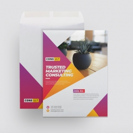 Creative C4 Catalog Envelope With Red And Yellow Accent