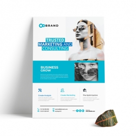 Creative Clean Business Flyer With Cyan Accent
