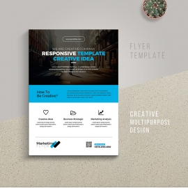 Creative Clean Flyer With Blue Accent