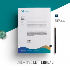 Creative Clean Letterhead With Blue Concepts