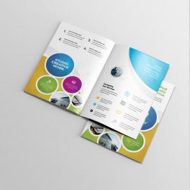 Creative Colorful BiFold Brochure With Cricle