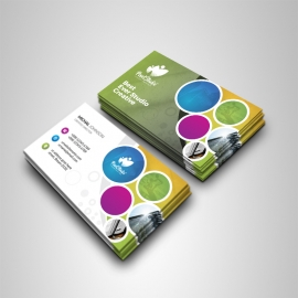 Creative Colorful Business Card With Cricle