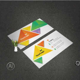 Creative Colorful BusinessCard With Triangle