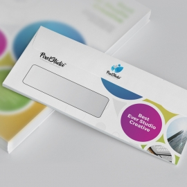 Creative Colorful DL Envelope Commercial With Cricle
