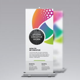 Creative Colorful Rollup Banner With Red Green