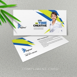 Creative Compliment Card With Blue And Green Accent