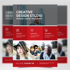 Creative Corporate Flyer with Red Accen