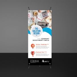 Creative Cyan And Red Rollup Banners