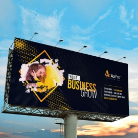 Creative Dark Billboard Sinage With Black And Yellow Accent