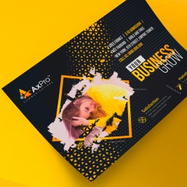 Creative Dark Landscape Flyer With Black & Yellow Accent