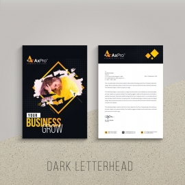 Creative Dark Letterhed With Black And Yellow Accent