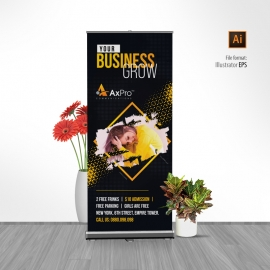 Creative Dark Rollup Banner With Black And Yellow Accent