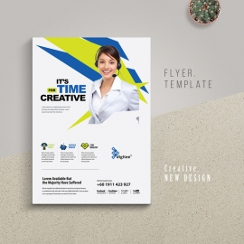 Creative Flyer With Blue And Green Accent