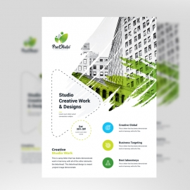 Creative Green Flyer With Brush Style