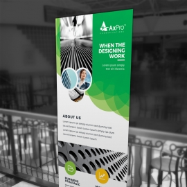 Creative Green Rollup Banner With Cricle