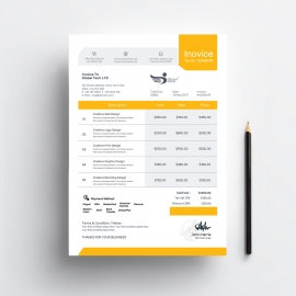 Creative Idea Orange Color Invoice Template