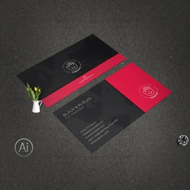 Creative Minimal Business Card With Red Accent