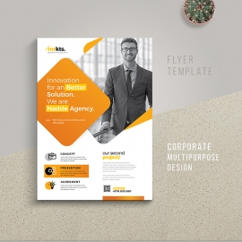 Creative Minimal Business Flyer With Yellow Accent