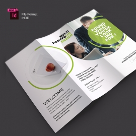 Creative Minimal Business Trifold Brochure With Green Accent