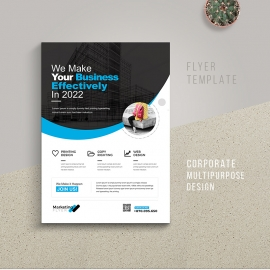 Creative Multipurpose Flyer With Blue Accent
