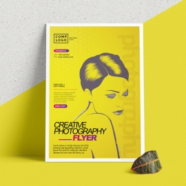 Creative Photography Flyer With Yellow Accent