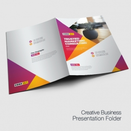 Creative Presentation Folder With Red And Yellow Accent