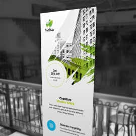 Creative Rollup Banner With Brush Style