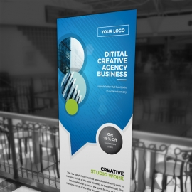 Creative Rollup Banner WIth Cricle Blue Accent