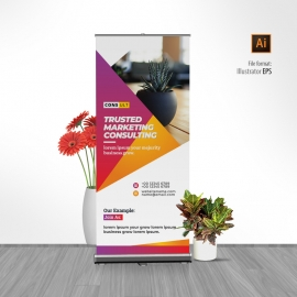 Creative Rollup Banner With Yellow And Red Accent