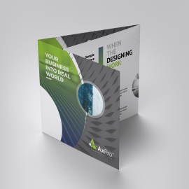 Creative Square TriFold Brochure With Green Black Accent