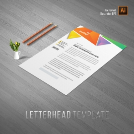 Creative Triangle Colorful Letterhead With Abstract