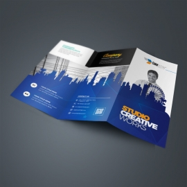 Creative TriFold Brochure With Egyptian Blue Building