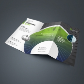 Creative TriFold Brochure With Green Black Accent