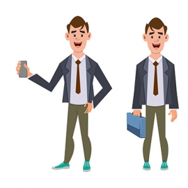 Cute Businessman Cartoon Character in Different Poses
