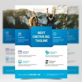 Cyan Accent Boxs Modern Business Flyer