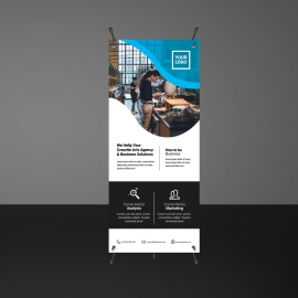 Cyan Accent Business Rollup Banner