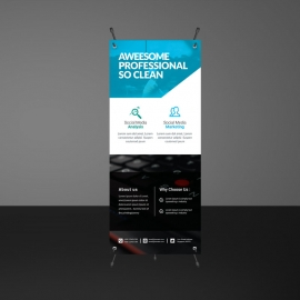 Cyan Accent Business Rollup Banners