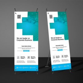 Cyan  Accent Rollup Banners Template