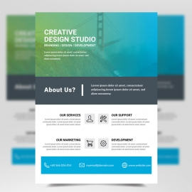 Cyan and white Business Flyer