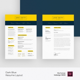 Dark Blue Accent with Yellow Topbar Resume & Cover Letter Layout
