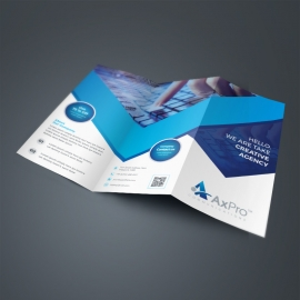 Dark Blue Business TriFold Brochure With Abstract