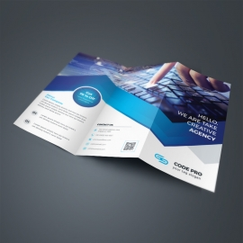 Dark Blue TriFold Brochure With Abstract